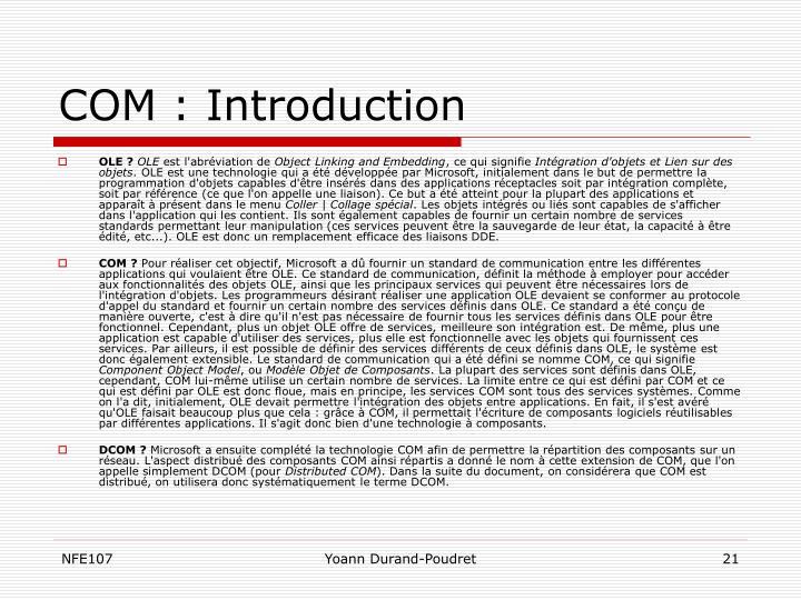 COM : Introduction
