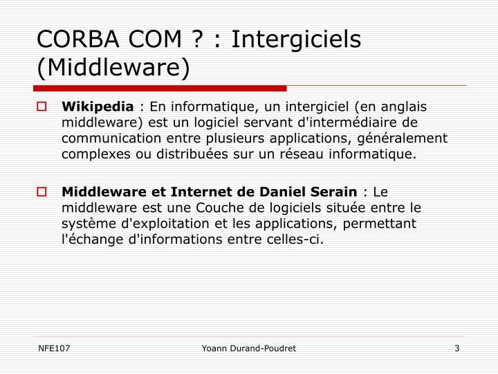 CORBA COM ? : Intergiciels (Middleware)