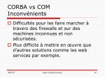 corba vs com inconv nients