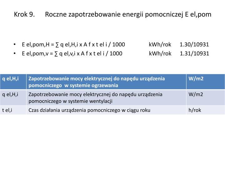 Krok 9.      Roczne zapotrzebowanie energii pomocniczej E el,pom