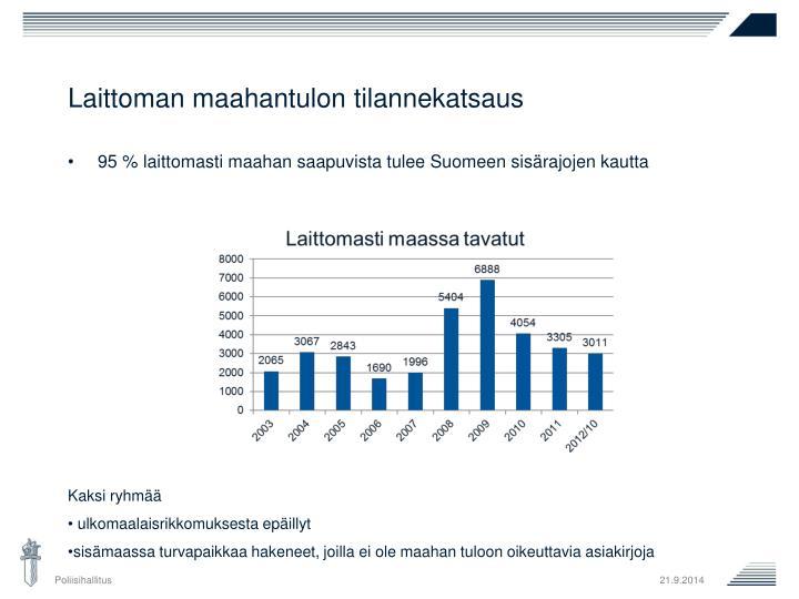 95 % laittomasti maahan saapuvista tulee Suomeen sisärajojen kautta