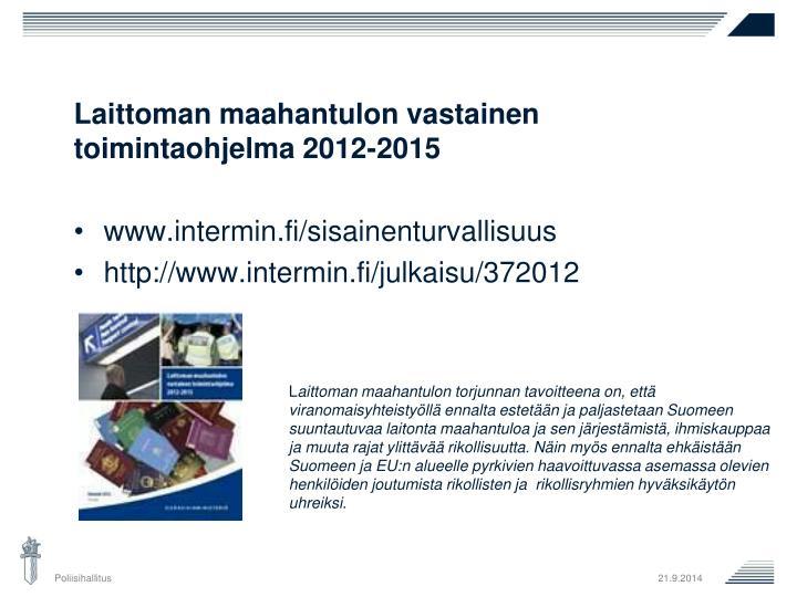 Laittoman maahantulon vastainen toimintaohjelma 2012-2015