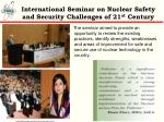 international seminar on nuclear safety and security challenges of 21 st century