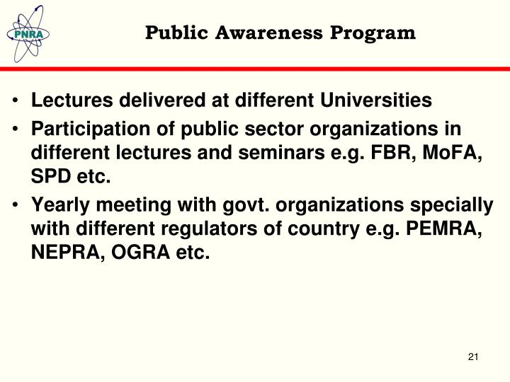 Public Awareness Program