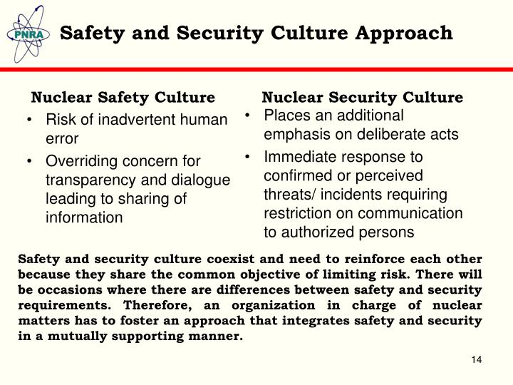 Safety and Security Culture Approach