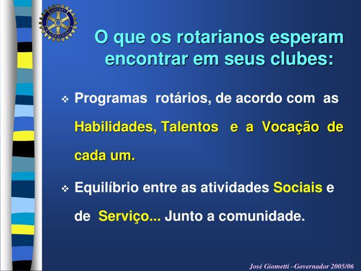O que os rotarianos esperam   encontrar em seus clubes: