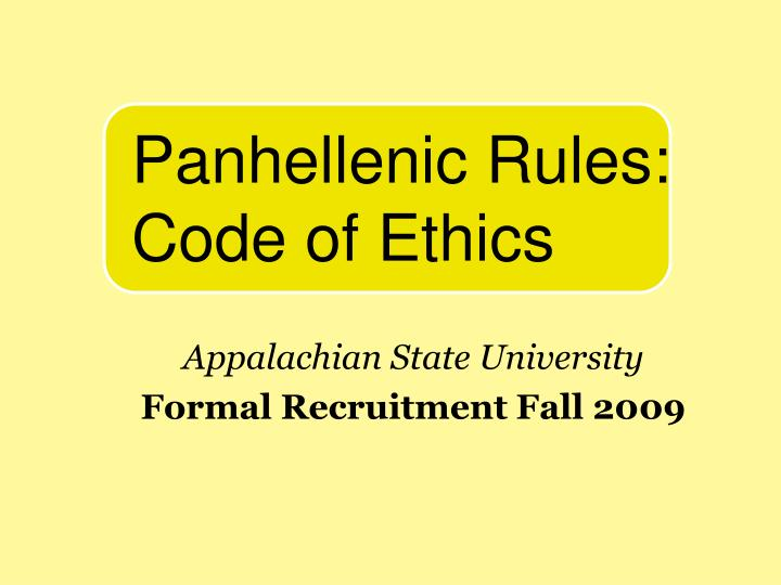appalachian state university formal recruitment fall 2009