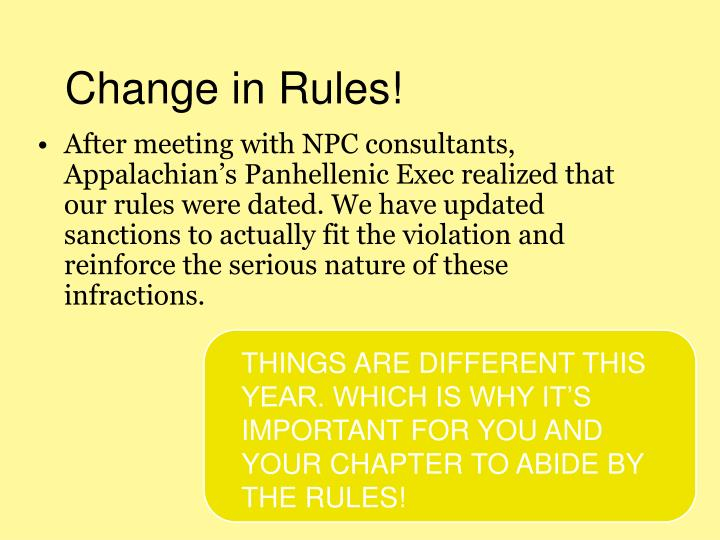Change in Rules!