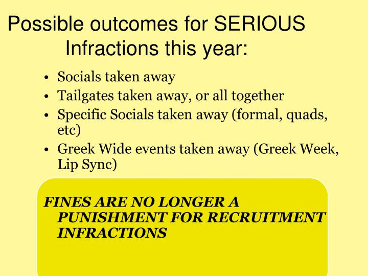 Possible outcomes for SERIOUS Infractions this year: