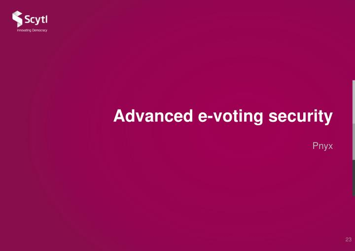 Advanced e-voting security