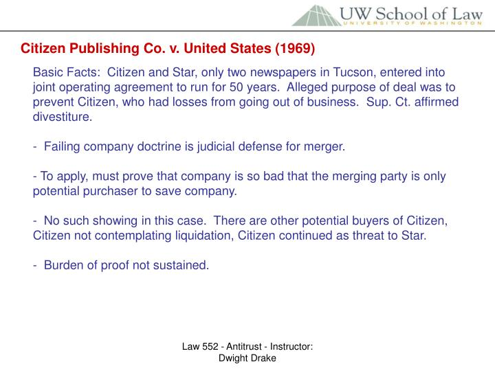 Citizen Publishing Co. v. United States (1969)