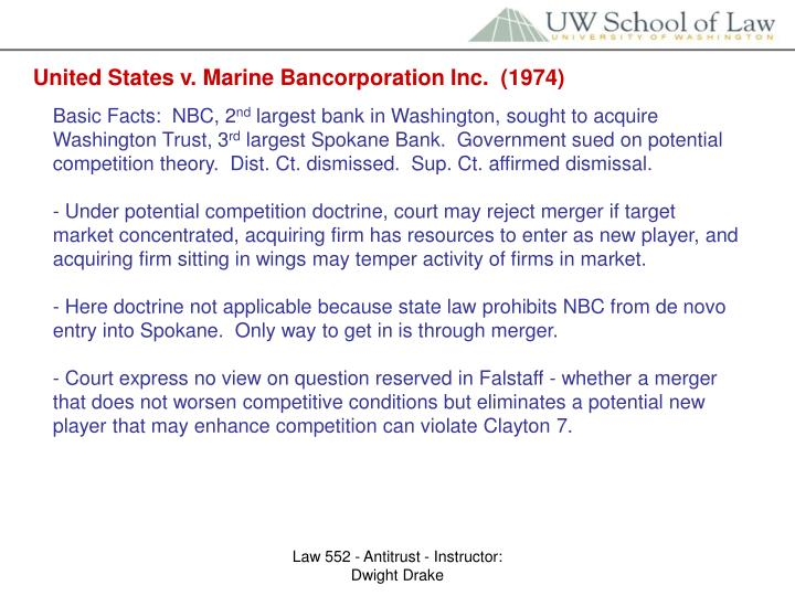 United States v. Marine Bancorporation Inc.  (1974)