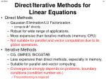 direct iterative methods for linear equations