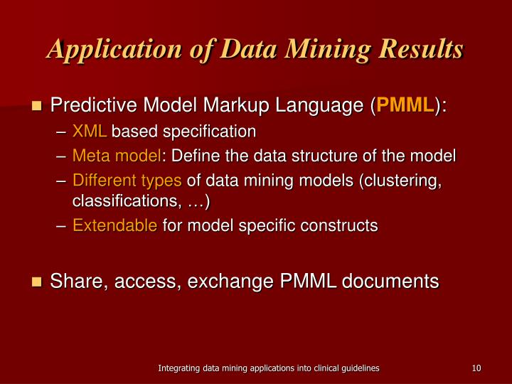 Application of Data Mining Results