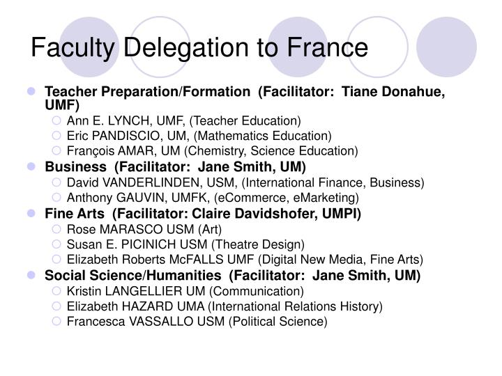 Faculty Delegation to France