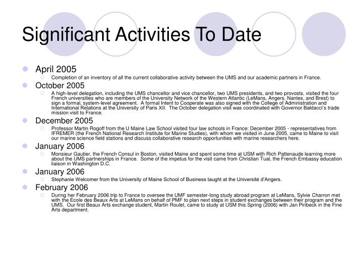 Significant Activities To Date