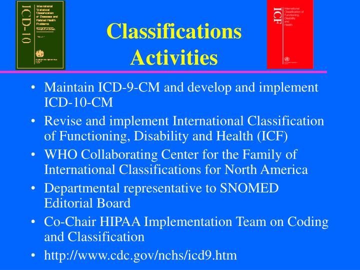 Classifications Activities