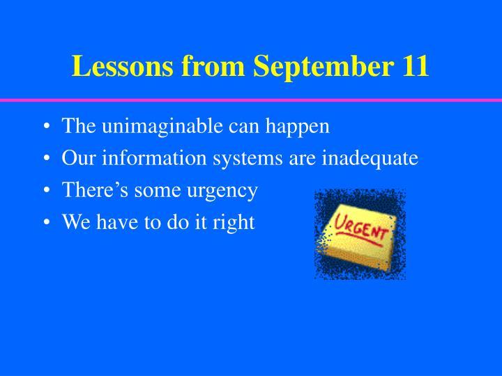 Lessons from September 11