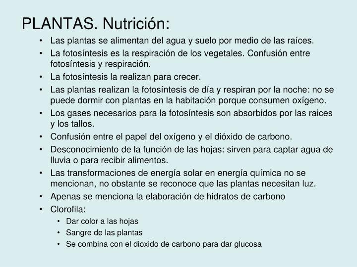 PLANTAS. Nutrición:
