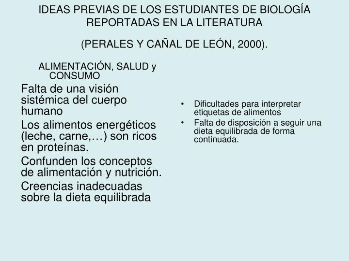 IDEAS PREVIAS DE LOS ESTUDIANTES DE BIOLOGÍA REPORTADAS EN LA LITERATURA