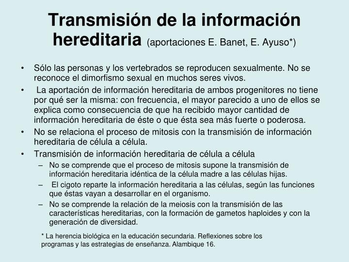 Transmisión de la información hereditaria