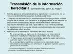 transmisi n de la informaci n hereditaria aportaciones e banet e ayuso
