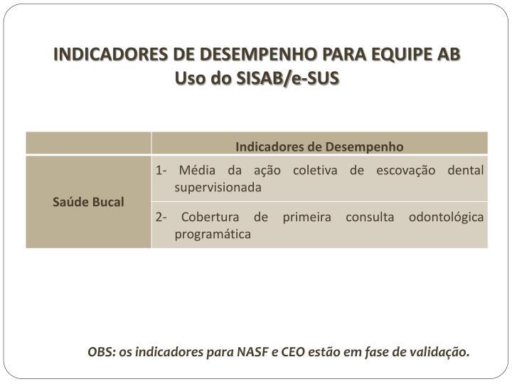 INDICADORES DE DESEMPENHO PARA EQUIPE AB