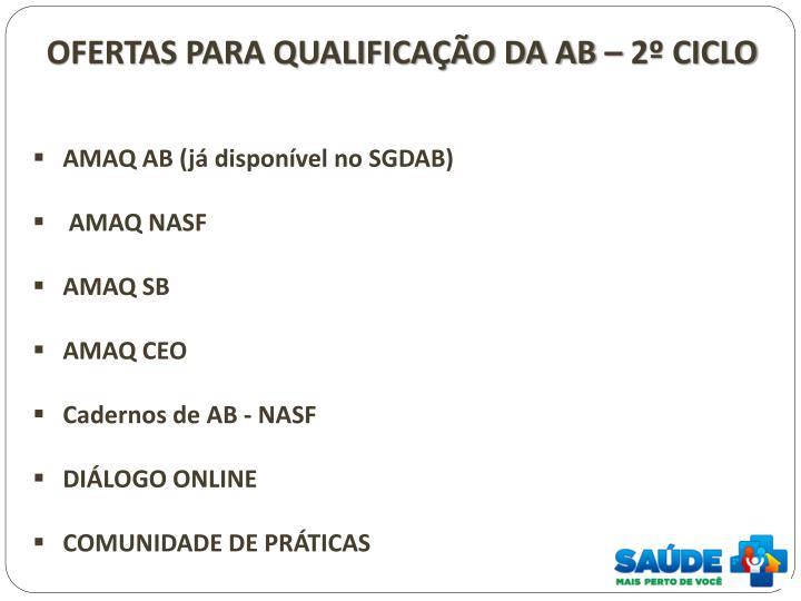 OFERTAS PARA QUALIFICAÇÃO DA AB – 2º CICLO