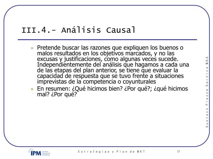 III.4.- Análisis Causal