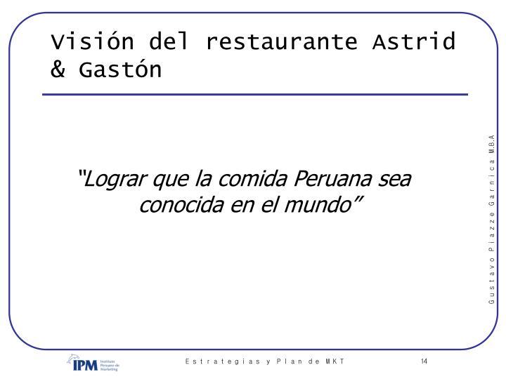 Visión del restaurante Astrid & Gastón