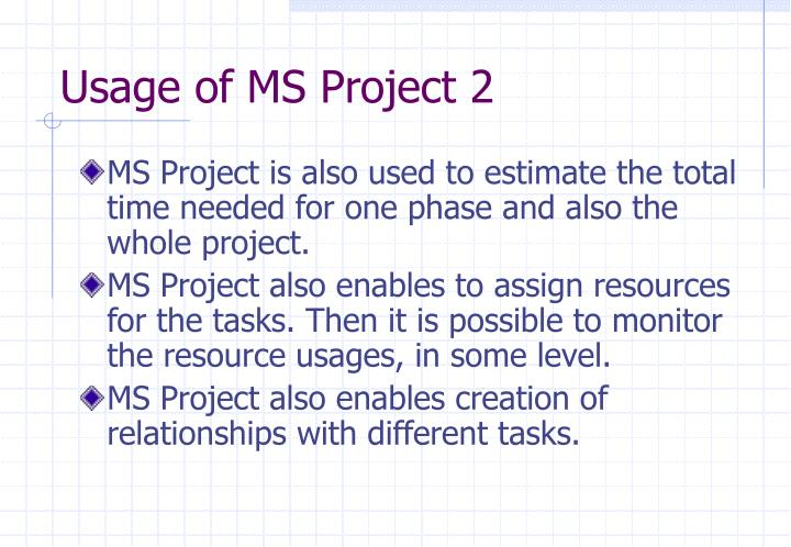 Usage of MS Project 2