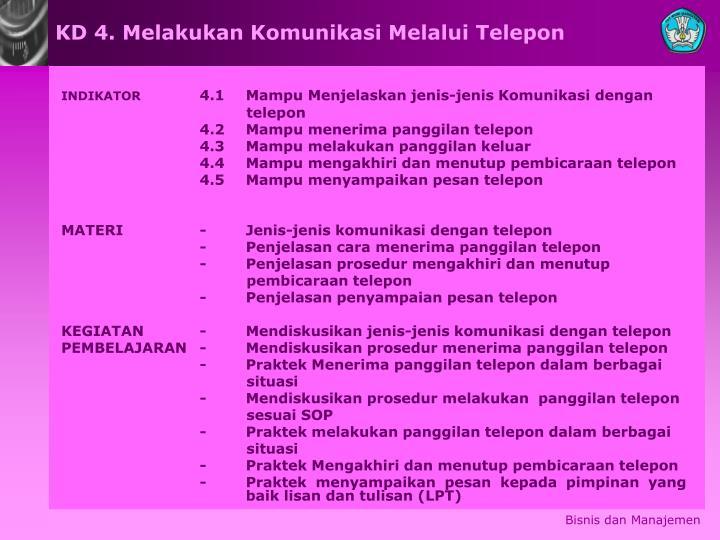 KD 4. Melakukan Komunikasi Melalui Telepon