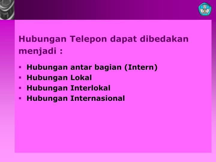 Hubungan Telepon dapat dibedakan