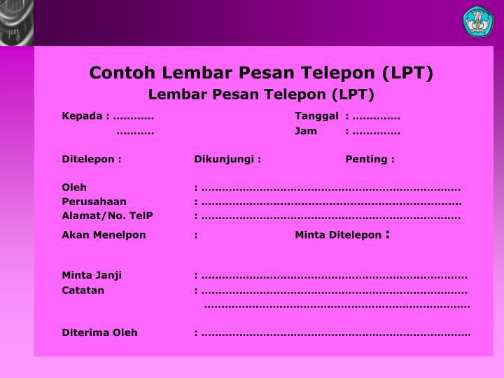 Contoh Lembar Pesan Telepon (LPT)