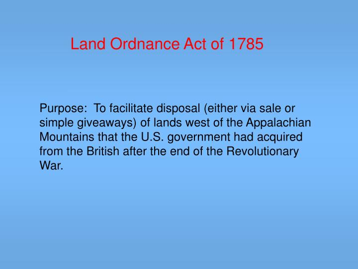 Land Ordnance Act of 1785