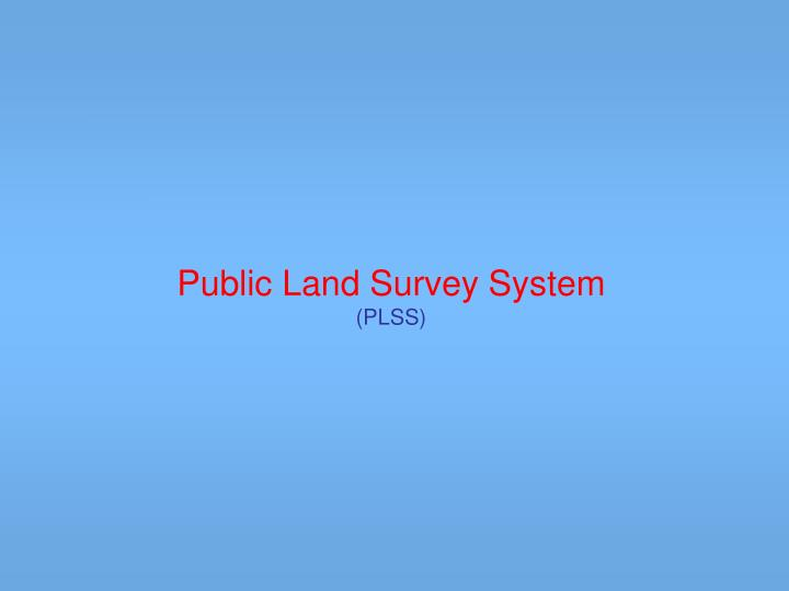 public land survey system plss