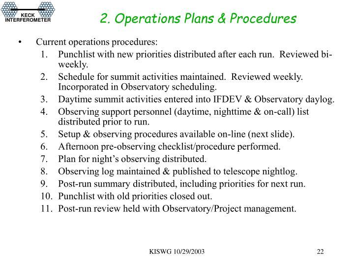 2. Operations Plans & Procedures