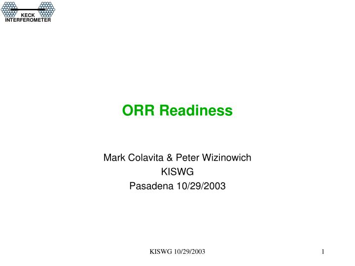 orr readiness