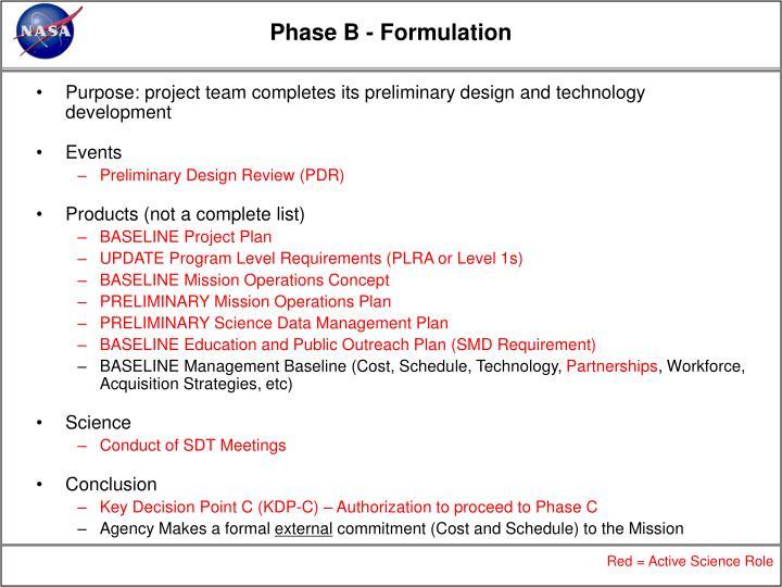 Phase B - Formulation