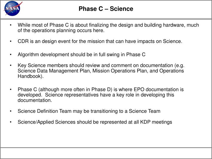 Phase C – Science