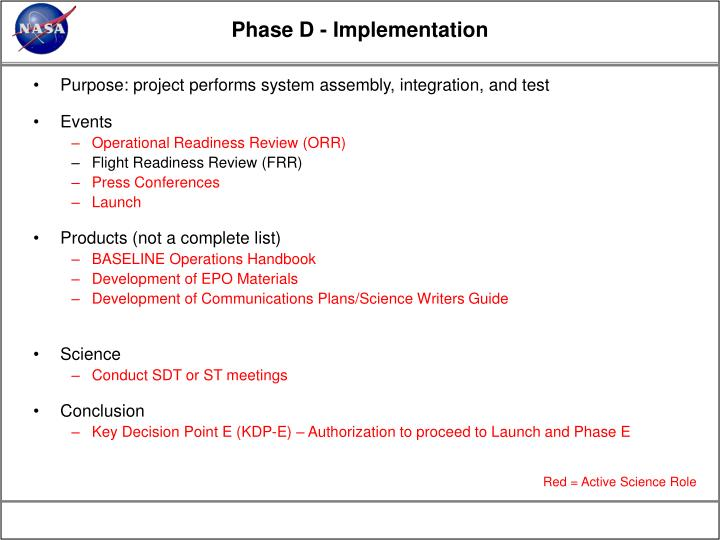 Phase D - Implementation