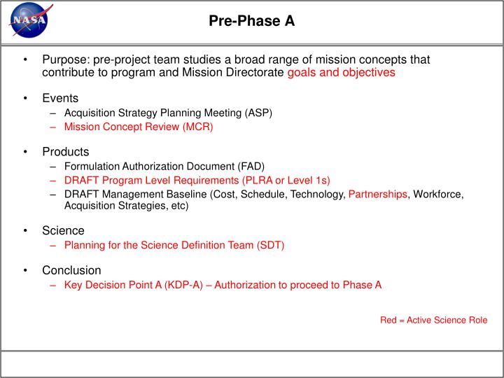 Pre-Phase A