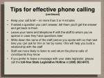 tips for effective phone calling continued