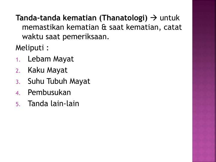 Tanda-tanda kematian (Thanatologi)