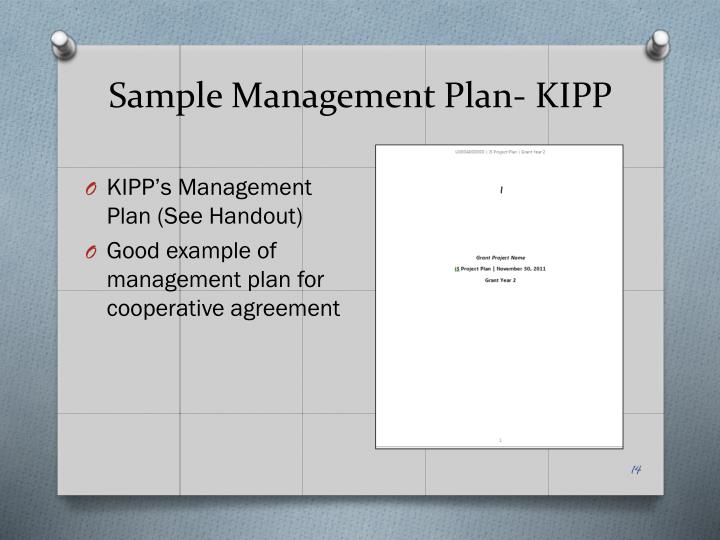 Sample Management Plan- KIPP