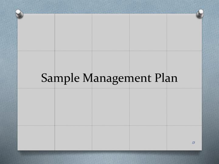 Sample Management Plan