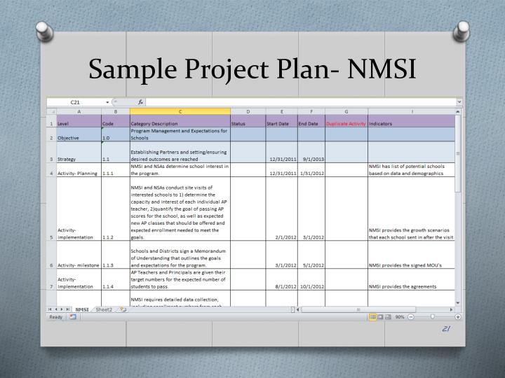 Sample Project Plan- NMSI