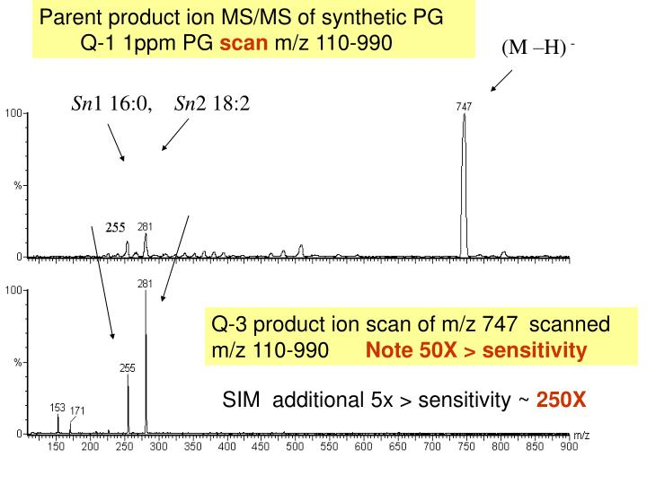 Parent product ion MS/MS of synthetic PG