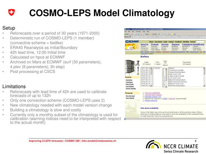 COSMO-LEPS Model Climatology