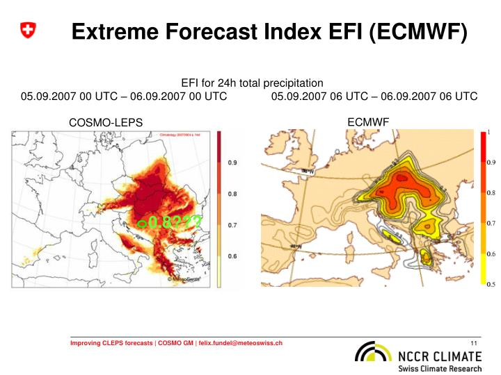 Extreme Forecast Index EFI (ECMWF)